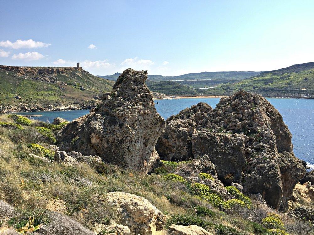 Ghajn Tuffieha and Gnejna Bay in Malta