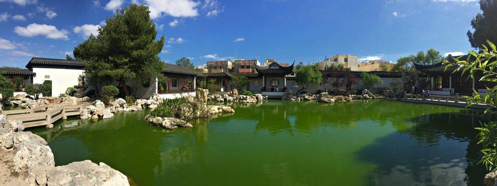 panoramic view of chinese garden of serenity malta