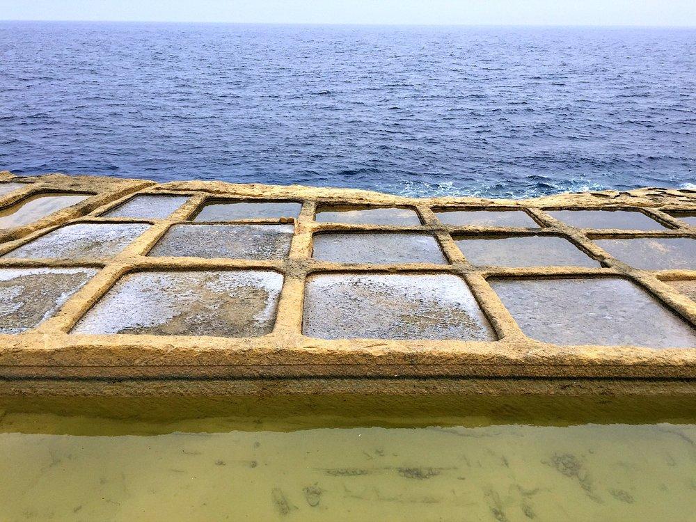 geometrical salt pans in gozo malta