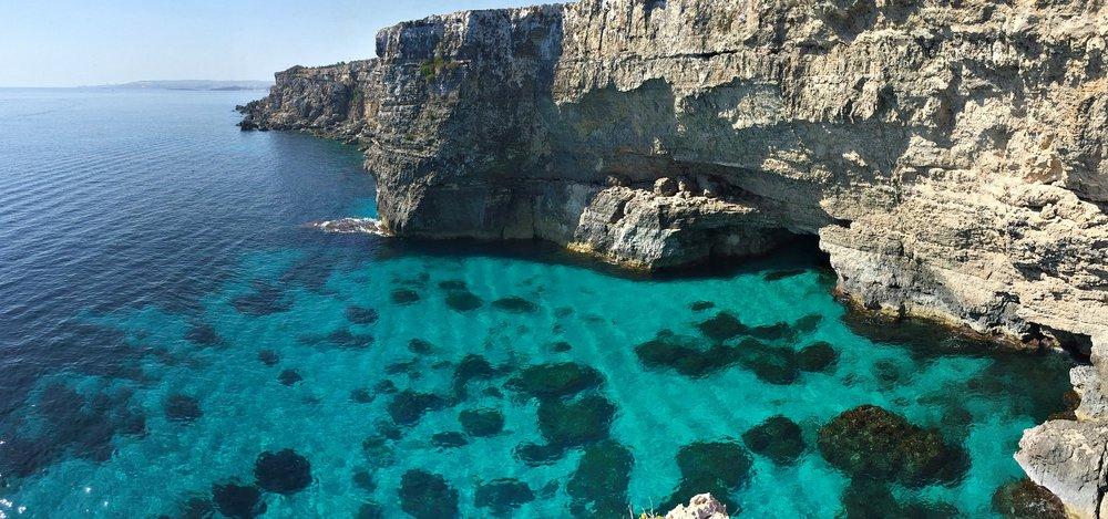 panoramic view of malta cliffs