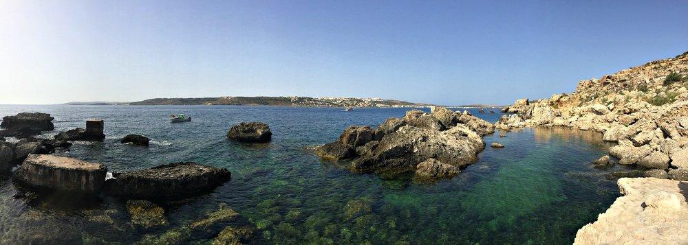 panoramic view of slugs bay malta