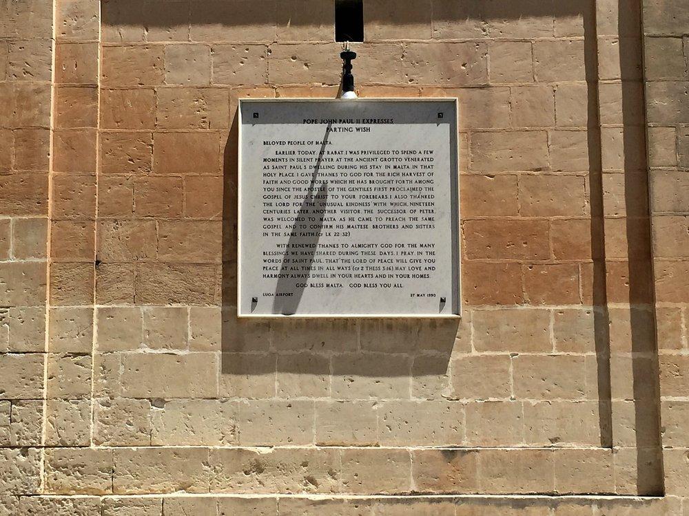 wignacourt museum rabat pope john paul