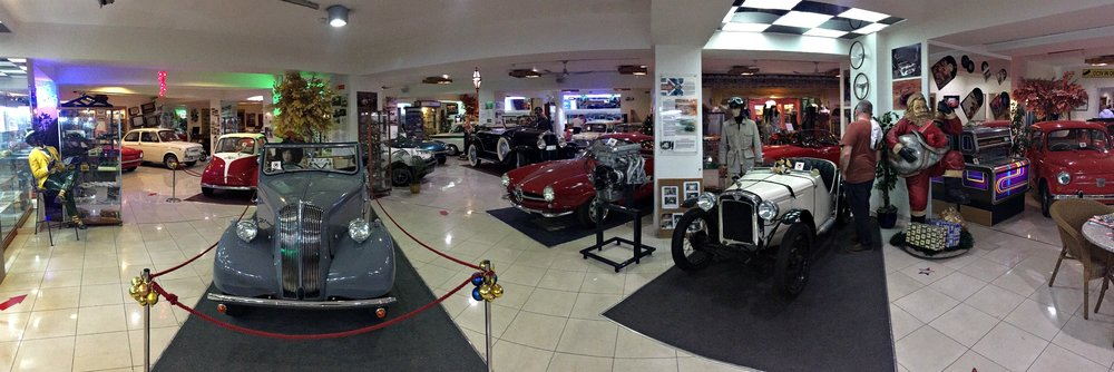 panoramic view of the malta classic car museum