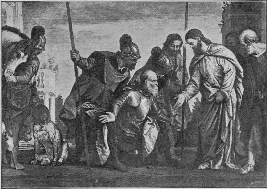 "Veronese, Plate 68,  paints the scene Matthew, not Luke, tells. The scene shows the Centurion who came to Jesus at Capernaum, beseeching him to cure his servant. ""I am not worthy,"" the Centurion is saying, ""that thou shouldest come under my roof—only say the word and my servant shall be healed."" (Matt. 8:8). Source: Project Gutenberg's  The Great Painters' Gospel, by Henry Turner Bailey"
