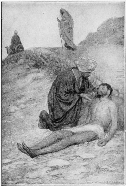 The Good Samaritan in  The Project Gutenberg EBook of Hurlbut's Life of Christ For Young and Old , 1915.