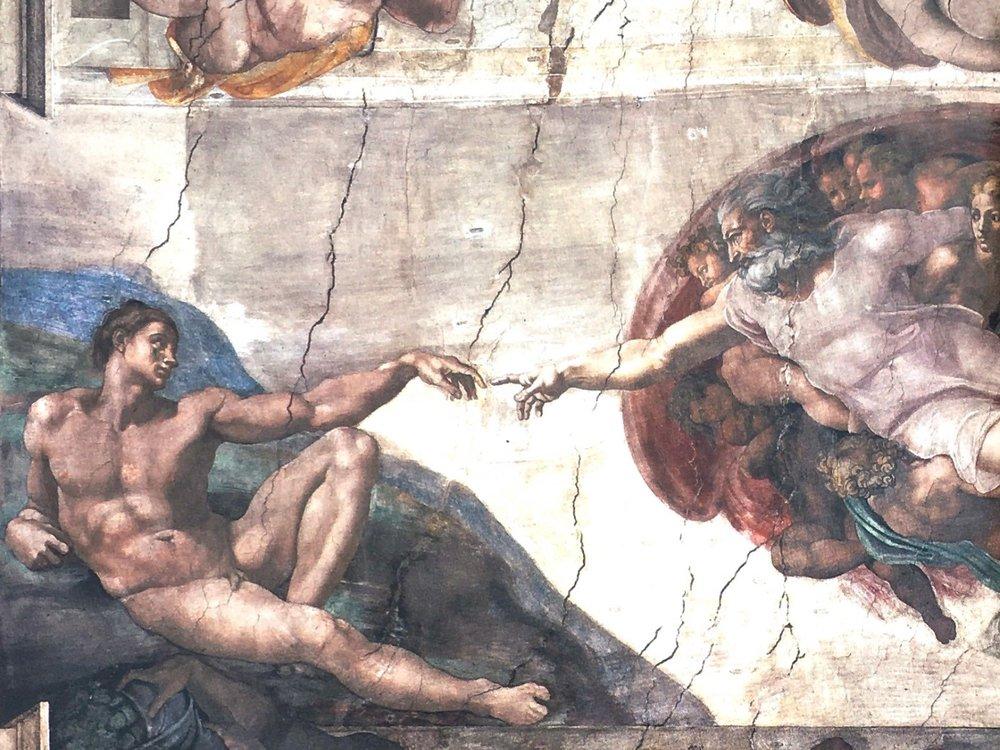 "Michaelangelo's Sistine Chapel masterpiece follows the biblical heritage of depicting the ""finger of God"" (Luke 11:20)."