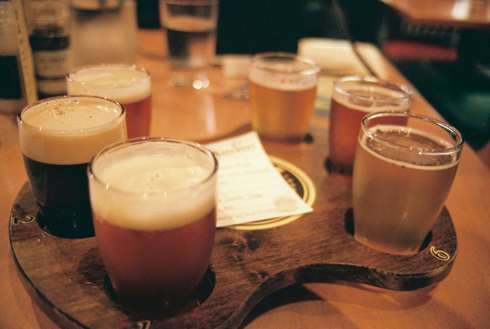 Beer flight at Deschutes Brewery