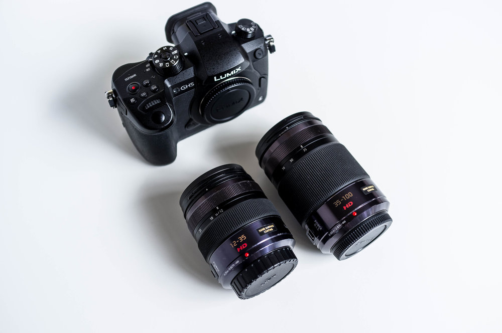 Panasonic GH5 with Panasonic 12-35mm and 35-100mm