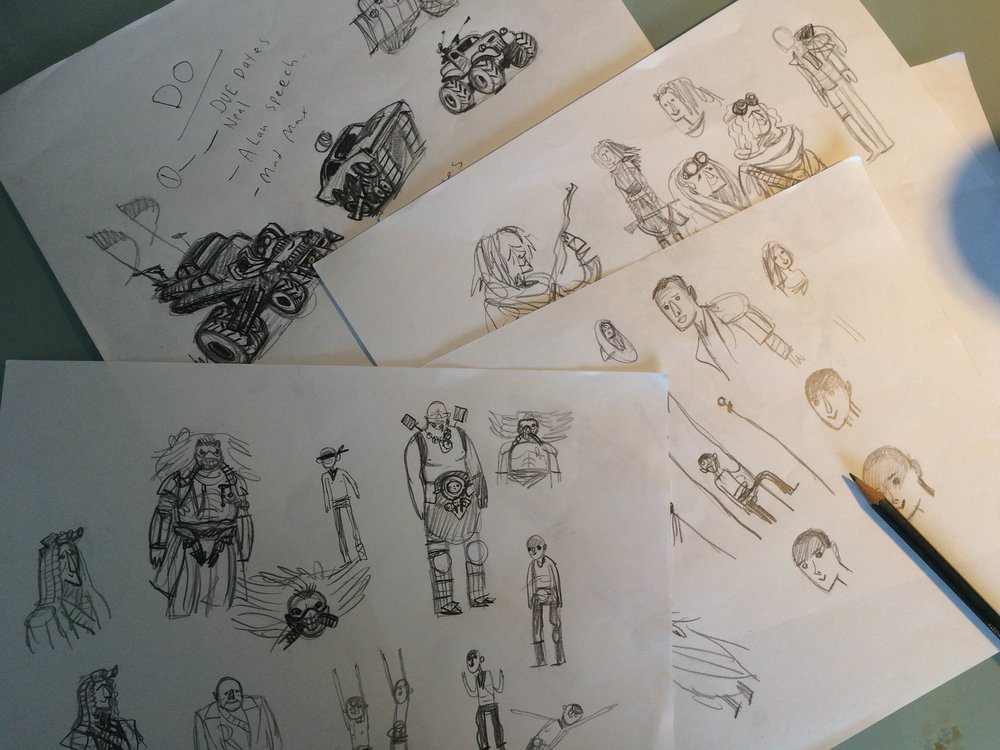 FIRST THING TO DO was gather what images of the film I could find and take screenshots from the movie trailers. I enjoyed sketching those hot rods. Geez louise. I sketched them all over this paper here. Check it out…