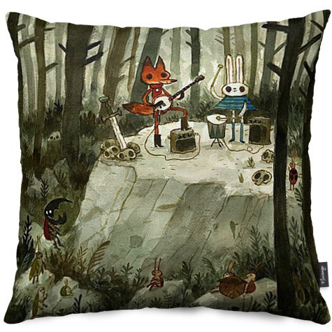 "Or what about this amazing little ""Performance in the Woods"" pillow!  Just the thing for your tired little head."
