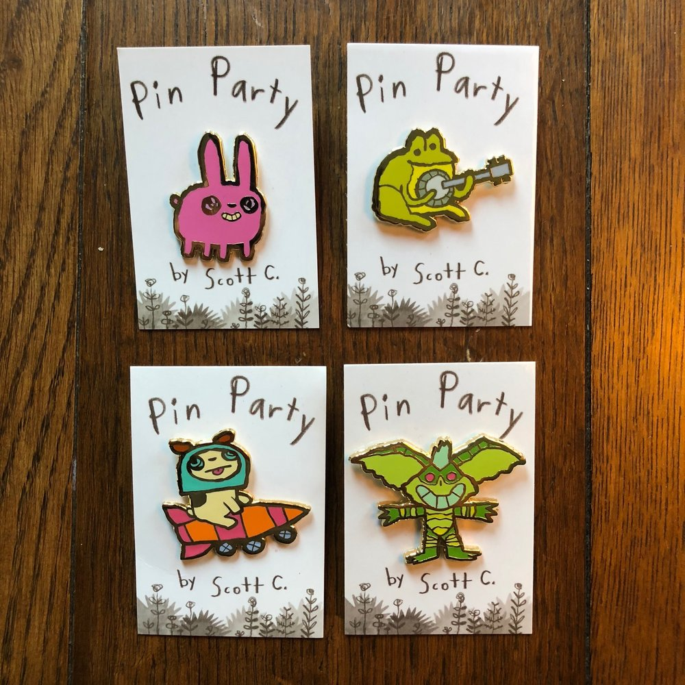 "NEW PINS!  $10 each   ""Chubby Bunny"", ""Frog Banjo"", ""Rocket Dog"", and ""Grems"" . all just for YOU AND YOUR CLOTHES (or backpack or drapes)"