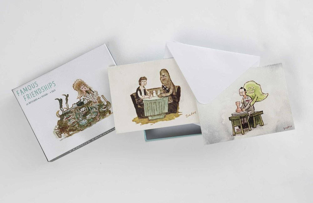 Scott C. Box of Notecards $15   Box of 20 greeting cards with various pleasant depictions of friends enjoying themselves.  Perfect for sending to friends and family to express caring.  Write whatever you want in there!