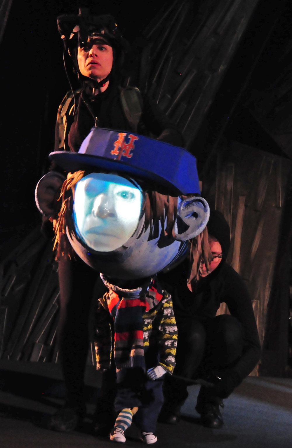 Caroline Tamas, standing, and Claire Moodey with a puppet in this play at Voorhees Theater. Credit: Andrew Puccio