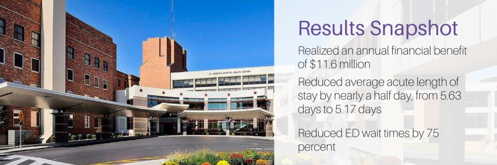 St. Joseph's Hospital realize annual benefits of $11.6 million in less than two years