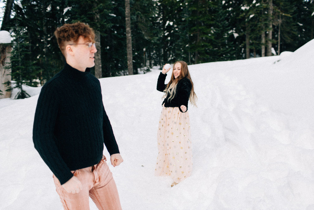 Snoqualmie Pass fuck yeah weddings engagement session snow mountains kendall shea feminist phtographer