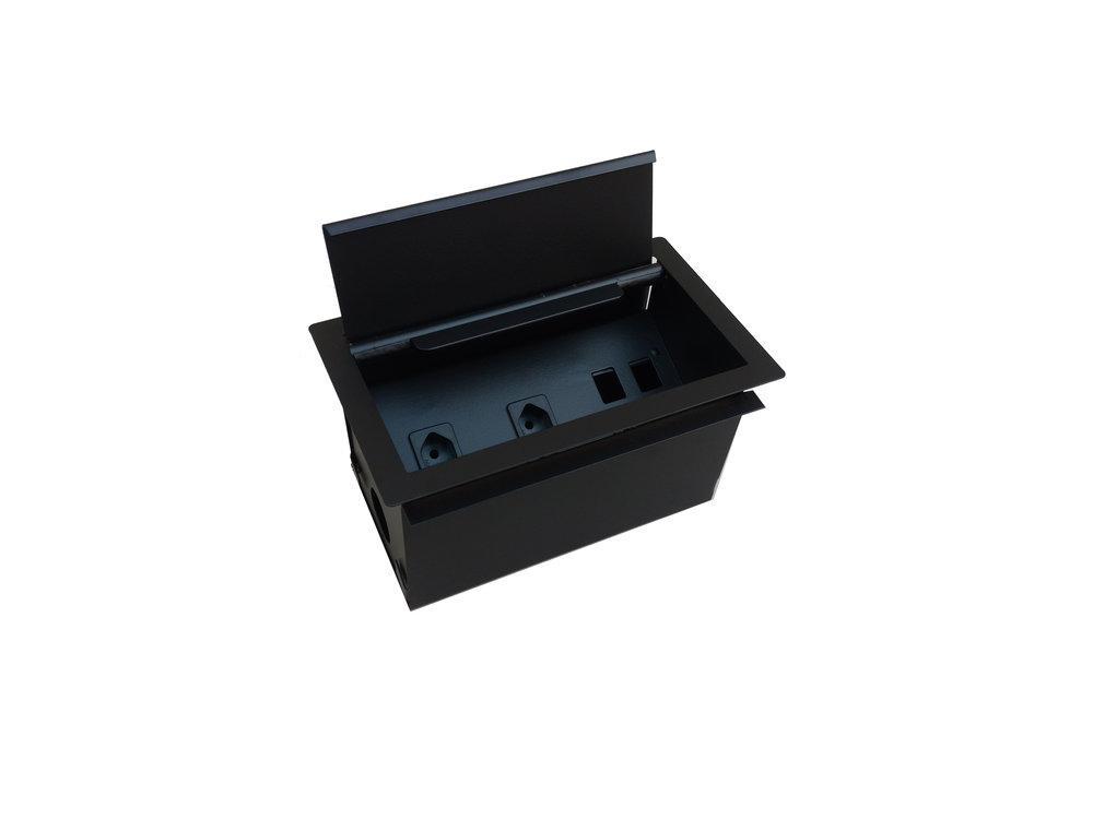 MODULO CAIXA ELETRICA planck  (PLcxe)   DIMENSÕES:   (lXP): 300x100cm  (ALTURA) : 75CM  3 TOMADAS E 2 LOGICAS