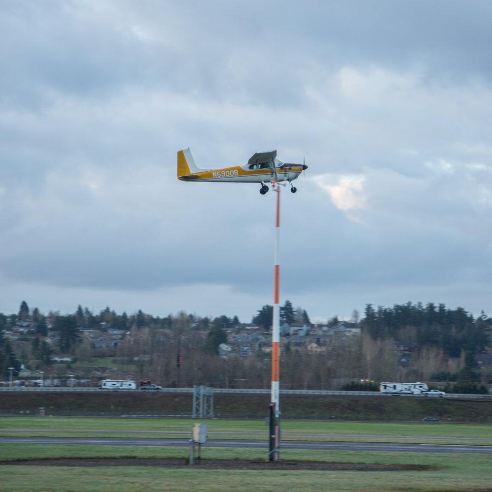 The first flight! Brayden, Errin, and Ryan taking off!