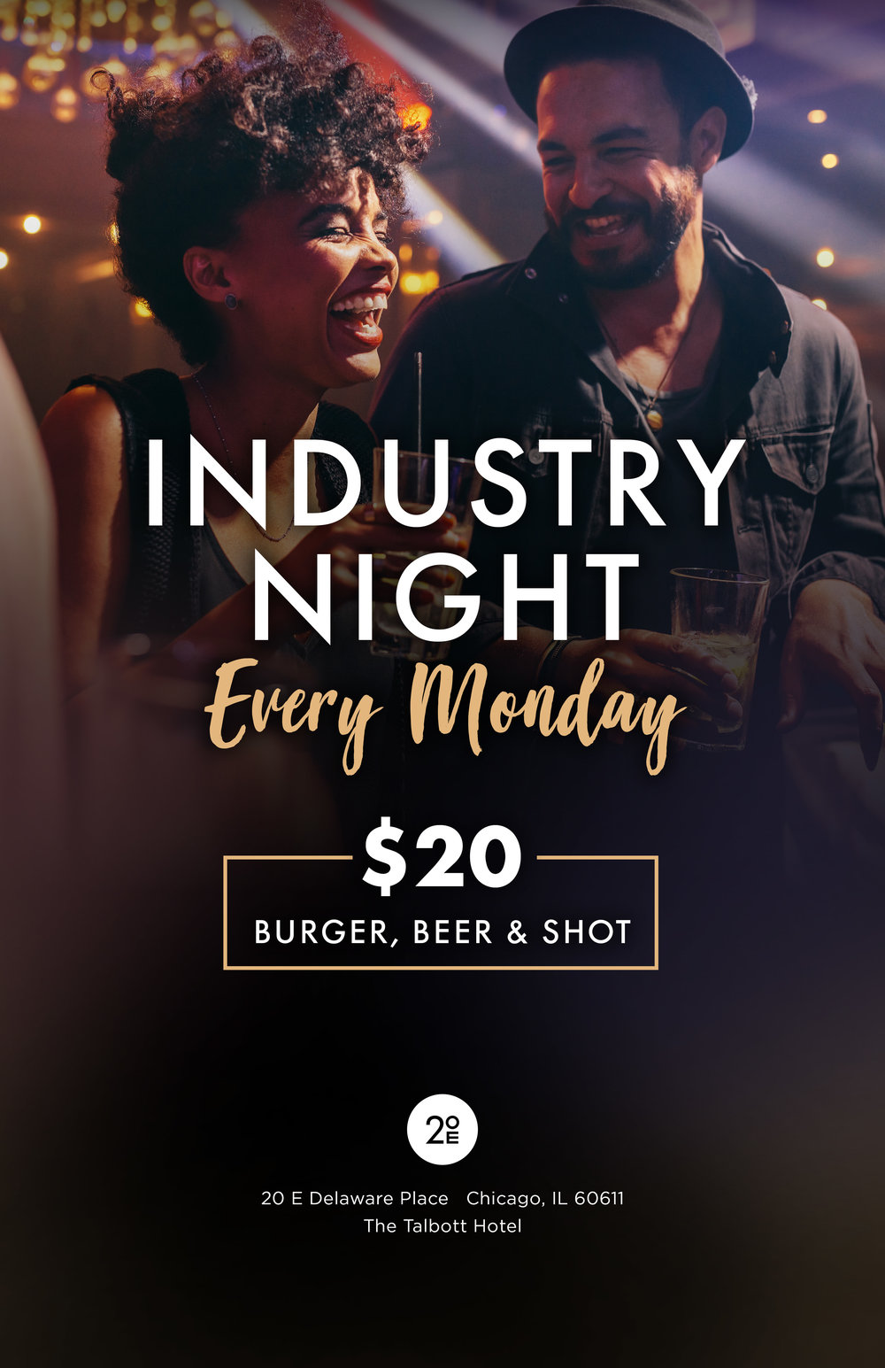 Join us for Industry Night every Monday for a Burger, Beer & Shot for $20 -