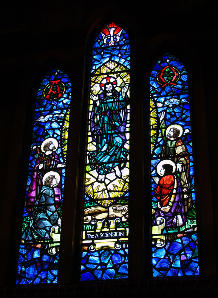 Beautiful stained glass at St Barnabas Church in Roseneath.