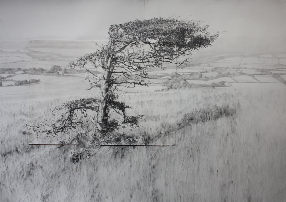 Over the hill. Pencil on paper 25''x36'' .JPG