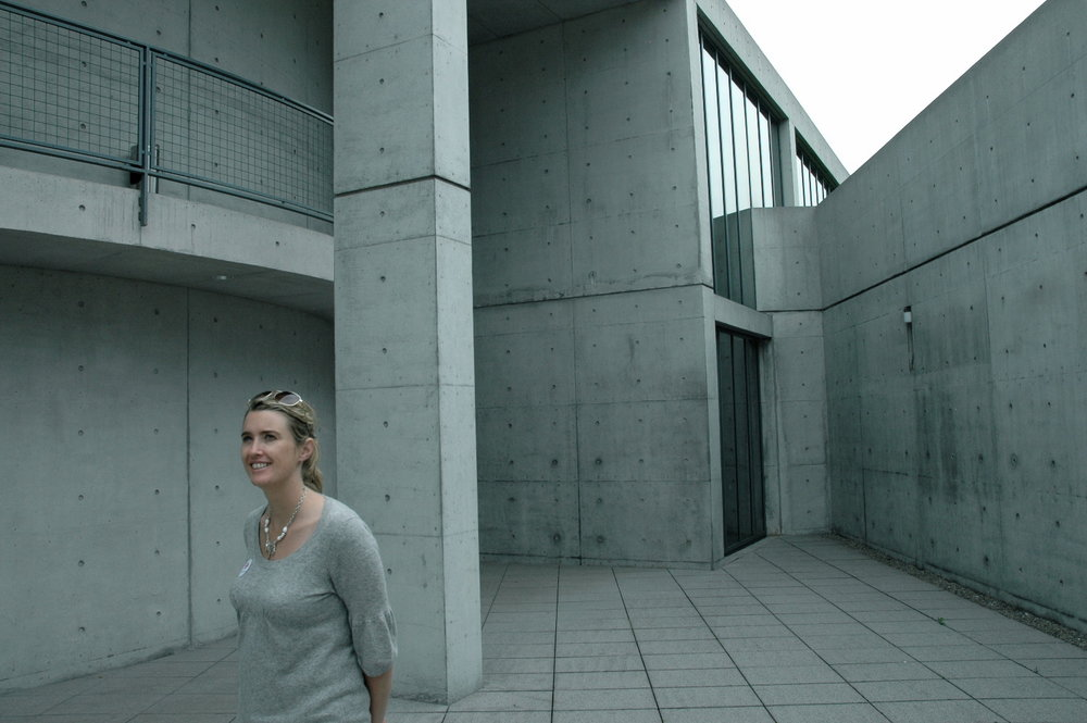 Lisa admiring the work of Tadao Ando at Vitra Campus, Germany