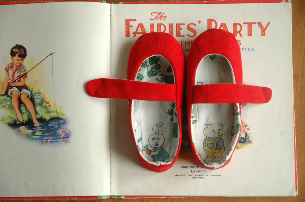 Lisa sewed these shoes for her daughter using repurposed vintage fabrics.