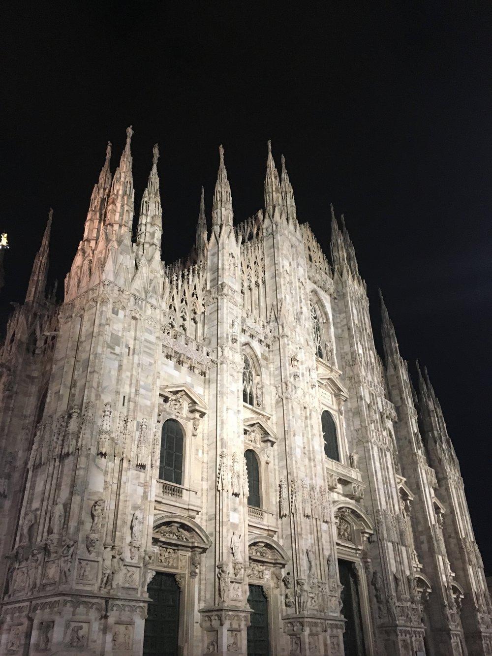 Duomo lit up at night