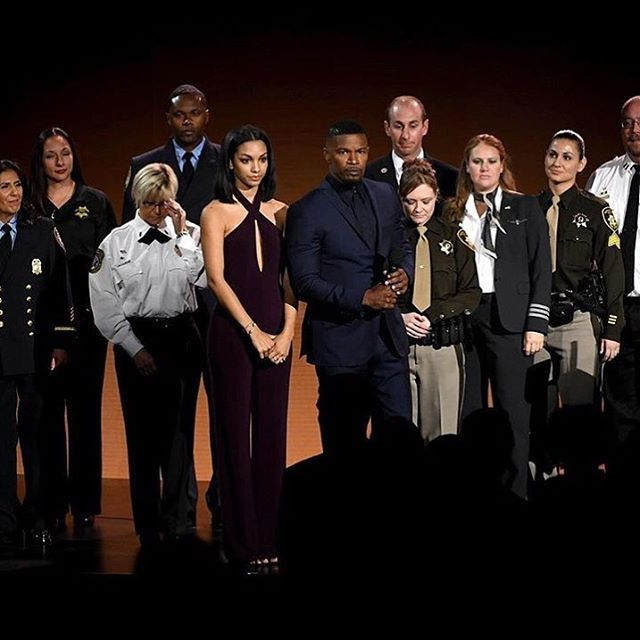 It was such an honor to stand on stage with these incredible heroes. First responders are true beacons of hope in moments of tragedy. Thank you for all that you do. We are eternally grateful. @amas @iamjamiefoxx