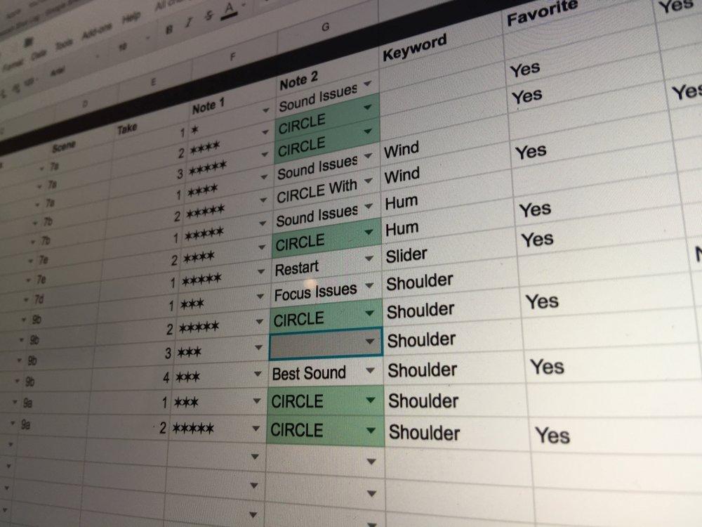 Using our custom Google Docs sheet for logging.