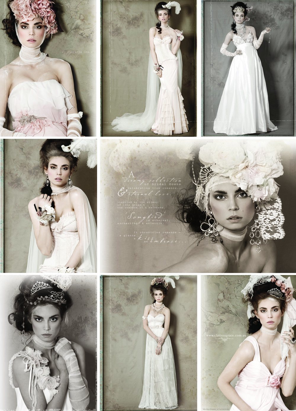 {Image credit: Gowns designed by Clarissa Grace Couture.}