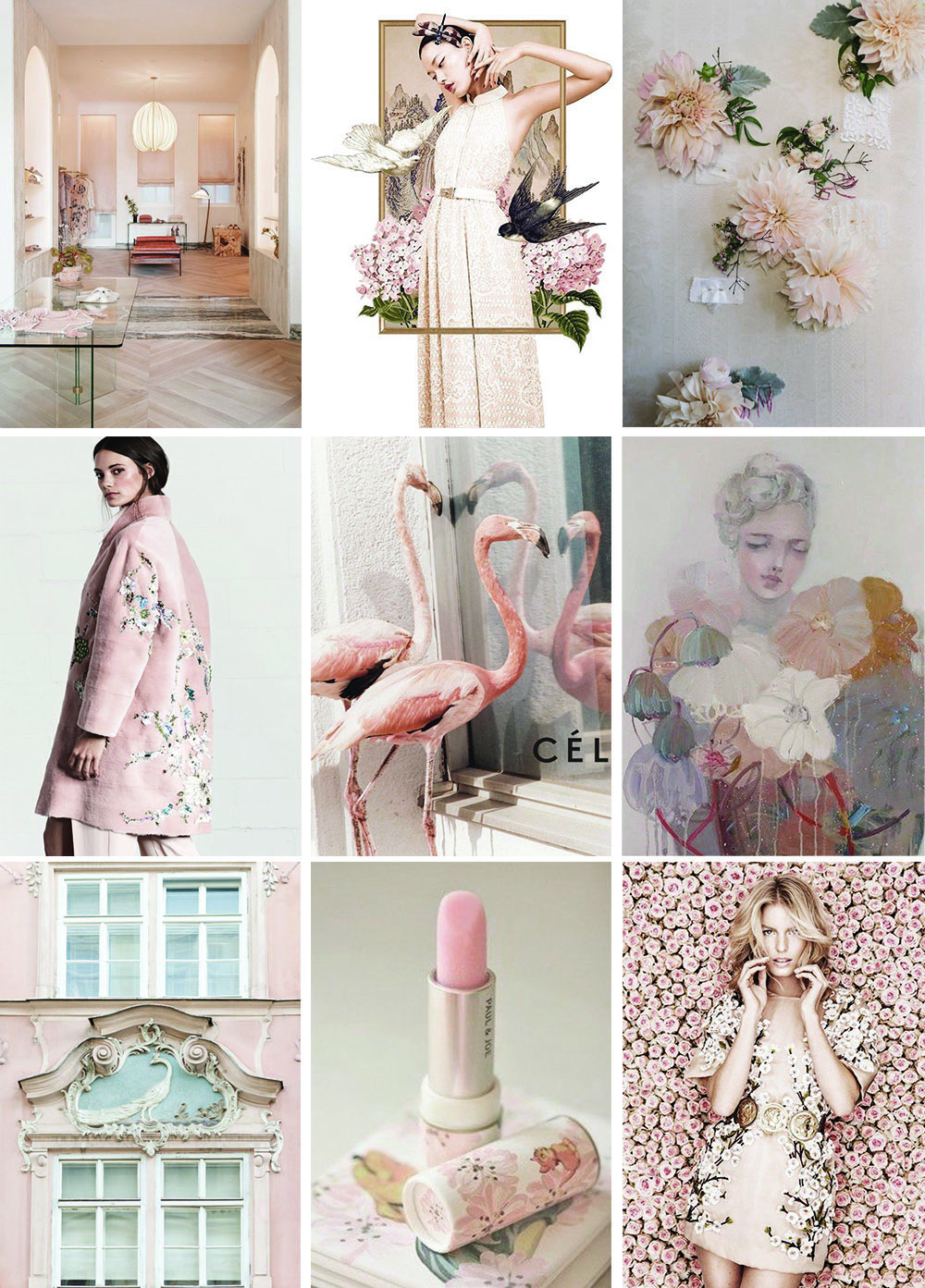 {Image credit from left to right, top to bottom:  Image 1 : Interior,  Image 2 : Graphic Design,  Image 3 : Flowers,  Image 4 : Fashion,  Image 5 : Animals,  Image 6 : Art,  Image 7 : Architecture,  Image 8 : Packaging,  Image 9 : Editorial.}