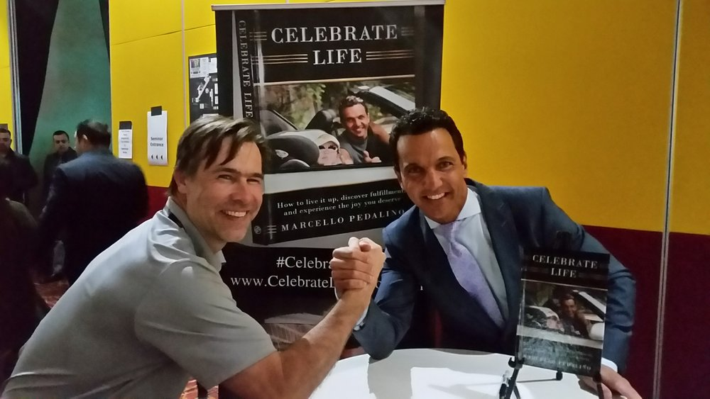 Celebrate Life author, Marcello Pedalino, at a Las Vegas book signing.  (This gentlemen arm-wrestled Marcello for the last copy before he sold out.)