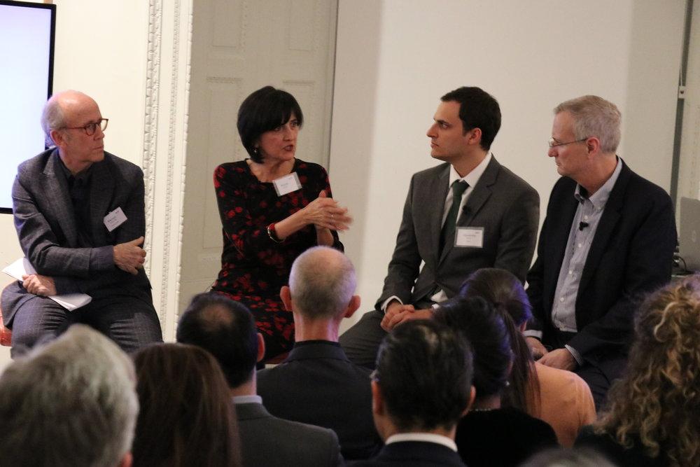 (Left to right) Mervyn Davies, Nicole Etchart, Alexandre Messina, and Bob Annibale    Joye Leventhal for NESsT
