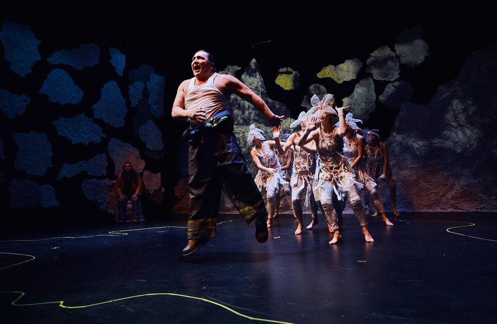 """Photo from """"Bears"""" by MatthewMacKenzie, featuring Sheldon Elter and the ensemble. Photo: Alexis McKeown."""