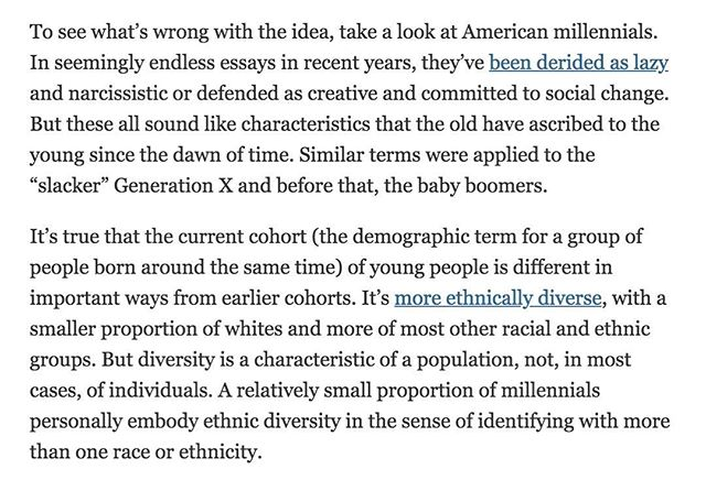 @nytimes opinion piece on defining 'millennials' confirming TSEB's beliefs in treating these consumers without labels.
