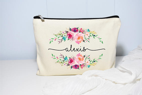 Especially love the floral personalized bags, like this one from Moonwake Designs.