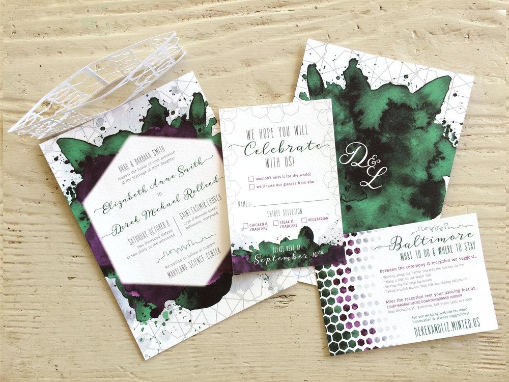 Wedding Invitation Design  – custom watercolor and illustration