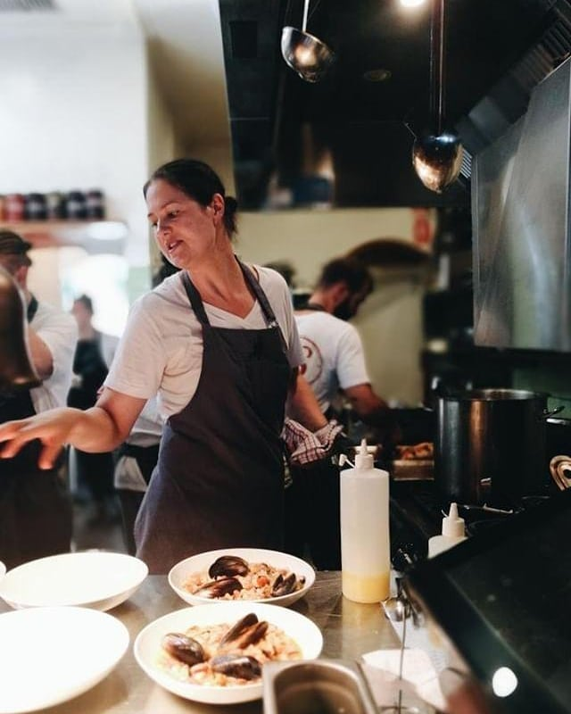 Action shot from our lunch last week of chef @almayj at @neighbourhoodwine 👩🍳👩🍳👩🍳 ICYMI we hosted a lunch with @emikodavies 💚 and @tessakiros 💚to celebrate their cookbooks and it was bloody brilliant 🙌💁♀️💥 #womeninfood 📷 @emikodavies