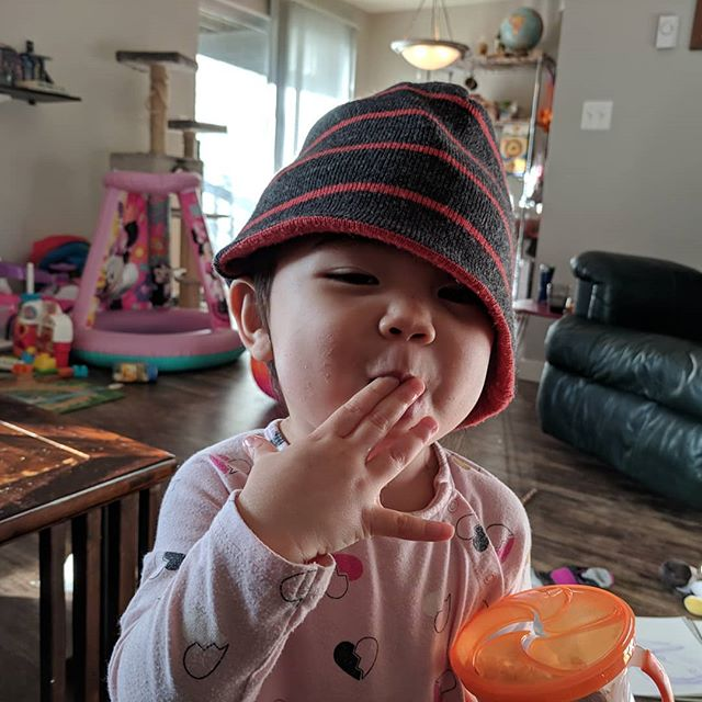 May 2019 be as joyful as an Ellie with a yummy snack and papa's hat.