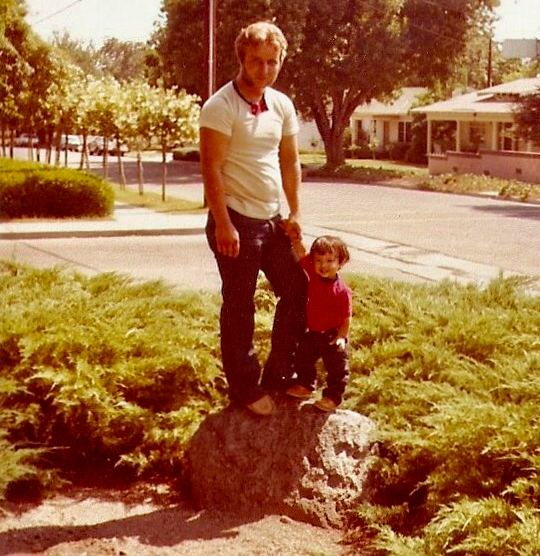 My son and I in my father's yard in California.