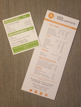 Cinta Aveda Institute and SFIEC menu and info card