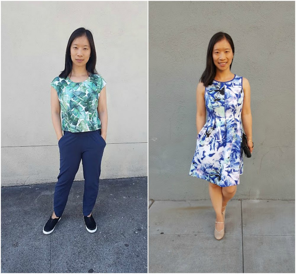 Top & bottom by Marine Layer (left) & Apt. 9 dress (right)