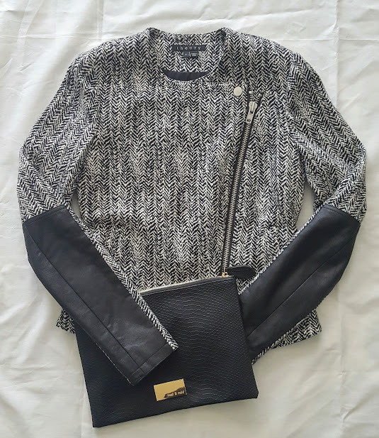 Theory jacket & black clutch purse