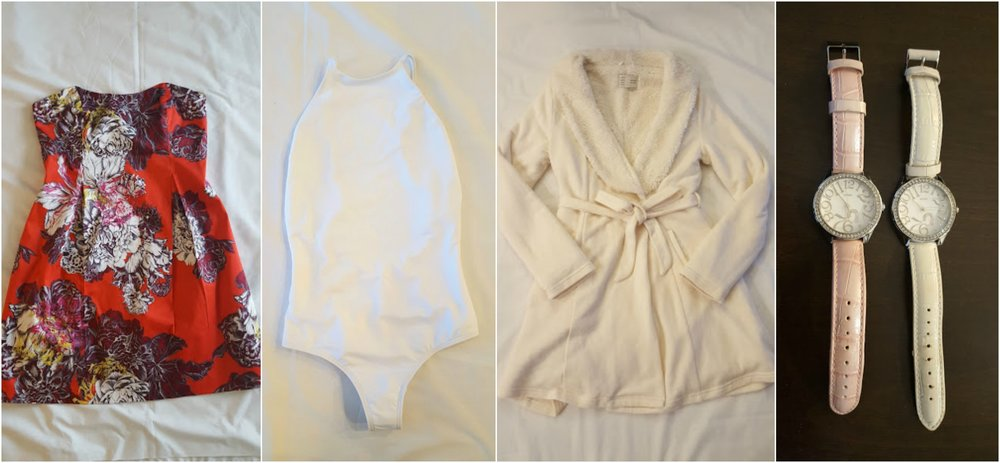 Anthropologie Leifsdottir dress, Her the Label swimsuit (new with tag), Anthropologie Saturday Sunday bathrobe, Guess watch
