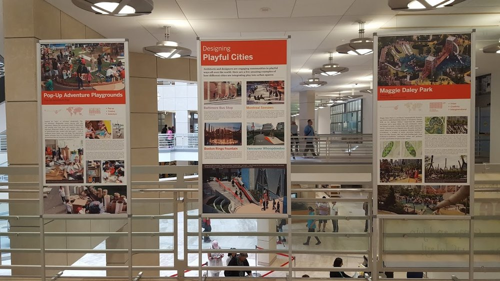 Current library exhibit on designing playful cities