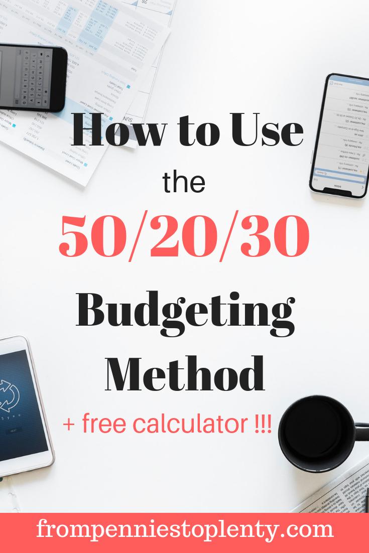 50-20-30 budgeting method