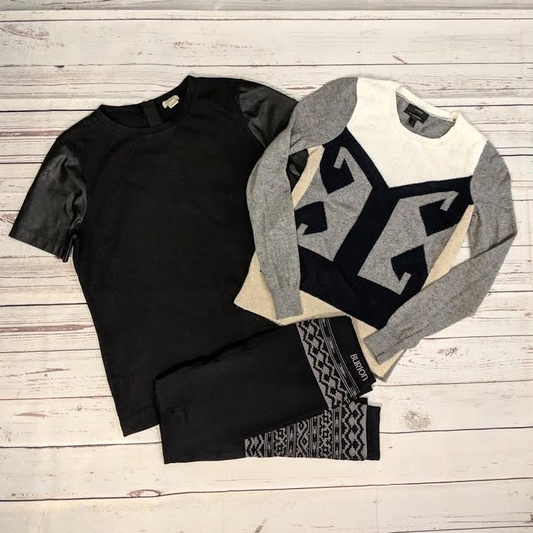 J. Crew sweater, J. Crew top, and Burton leggings