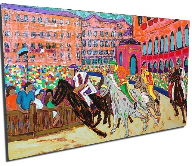 The Palio Horse Race in Siena Italy - 30x48 Canvas