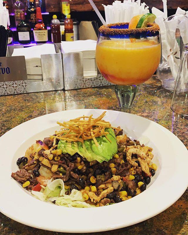 Come try our delicious la catrina salad 😋 and rocking margaritas! #marietta #atlanta #lacatrina #salad #maragrita #chicken #chamoy