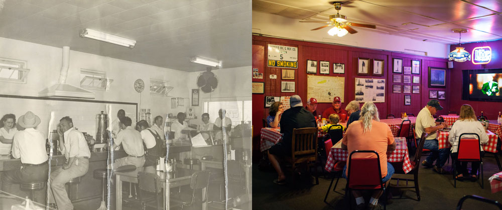 Left Photo :  Harbour's Cafe , 1928.  Right Photo :  The Derrick Room  (same location as the left photo), 2017.